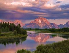 Early Morning Sunlight on Mount Moran (Jeff Clow) Tags: reflection nature river landscape bravo raw wyoming mountmoran grandtetonnationalpark oxbowbend 1exp jacksonholewyoming jeffrclow topazadjust frjrc