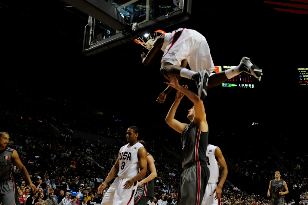 derrick rose dunking on someone. Like that column someone