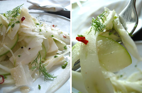 Shaved fennel salad with apple, creamy vanilla dressing