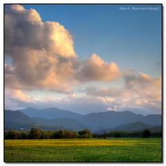 Cyprus Spring (Mike G. K.) Tags: sunset mountains grass clouds landscape spring village cyprus fields hdr photomatix 3exp klirou malounta malounda mikegk:gettyimages=submitted