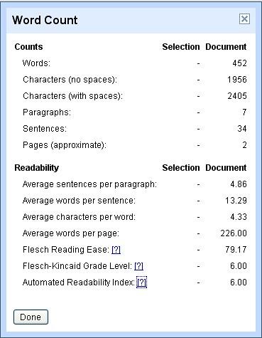 Google Docs Readability Stats