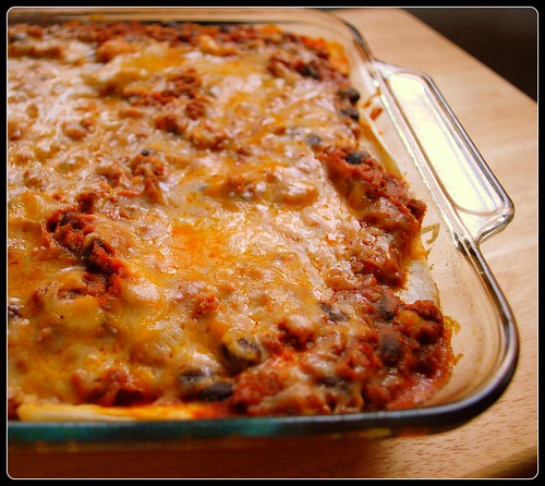 Mexican Lasagna in pan