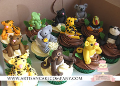 jungle_cupcakes (ArtisanCakeCompany) Tags: birthday bear flowers wedding baby elephant green leaves cake oregon portland shower monkey cupcakes lemon panda crystals chocolate weddingcake tiger lion sugar special jungle bakery koala theme cheetah salem giraffe hybiscus panther chameleon occasion grooms artisan keizer tucan bakeries fondant artisancakecompany