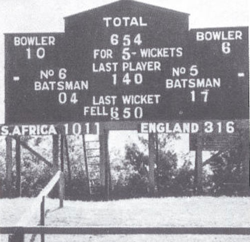 The scoreboard at the end of timeless test-SA vs England 5th test Durban 1939