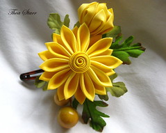 Yellow mum (thea superstarr) Tags: seattle summer flower yellow hair japanese hand cosplay silk style clip mum fabric etsy bridal chrysanthemum dyed tsumami kanzashi theastarr