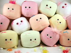 mini marshmallow group (scrumptiousdelight) Tags: toys candy plush marshmallow kawaii stuffie