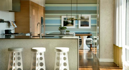 Frank Roop: Modern kitchen + blue + gray + stripes
