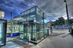 Vienna MuseumsQuartier U2 Stadion (Stewart Leiwakabessy) Tags: vienna wien blue trees sky people white reflection bus cars glass car station clouds buildings u2 grey lift metro elevator gray stewart ubahn stadion hdr museumsquartier leiwakabessy stewartleiwakabessy museumplatz mariahilferstrase