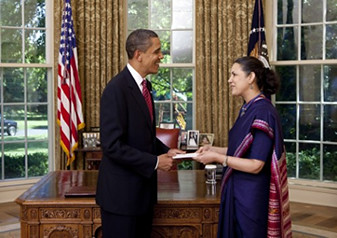 Indian Ambassador Meera Shankar presenting her credentials to President Barack Obama