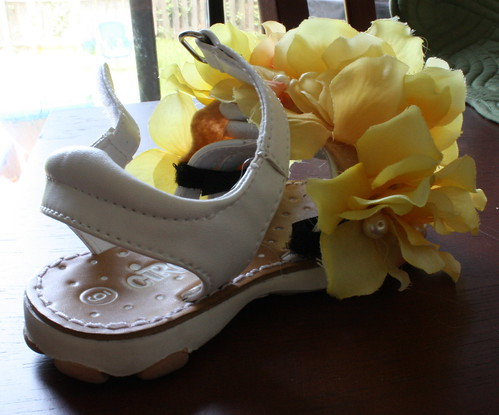 Close up of shoe with flowers