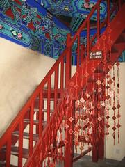 IMG_1027 (waldmeisterlein) Tags: china red rot stairs beijing stairway treppe peking neujahrswnsche nordseepark