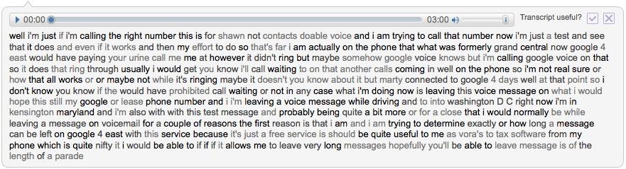 Google Voice Transcript