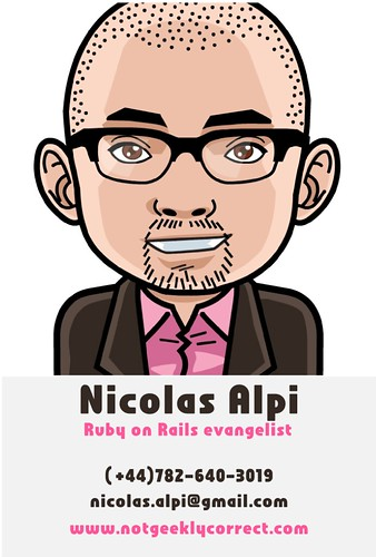 Business Card, Nicolas Alpi Ruby on Rails evangelist