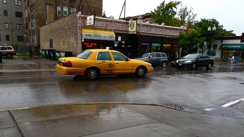 rainy Chicago taxi