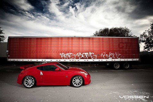 :::Vossen Wheels Photo shoot::: Red 370z Nismo Slammed on Vossen CV1 (DEEP