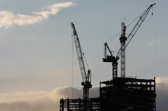 (BigtimeYYC) Tags: sunset sky cloud canada calgary canon construction steel cranes alberta rebelxsi
