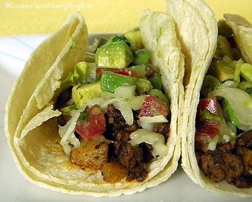 Pan-Fried Potato and Beef Tacos with Avocado Salsa
