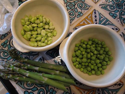 Fava, pea, asparagus salad