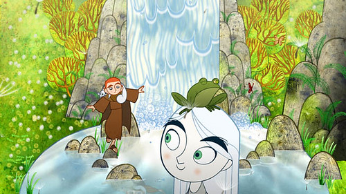 A curious boy (Evan McGuire) and a fairy girl (Christen Mooney) explore a forbidden but beautiful forest in 'The Secret of Kells'.