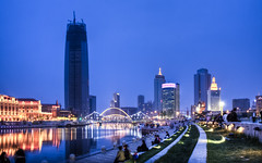 Tianjin from Tianjin Station (Sarmu) Tags: 2560 1600 1920 1200 1680 1050 highresolution resolution ws widescreen wallpaper wallpapers sarmu architecture building city cityscape skyline skyscraper skyscrapers vantage view urban urbanity light lights night nightshot hdr tianjin  china  hairiver  haihe tianjinstation tianjinzhan  bridge river cbd downtown sunset twilight bluehour highdefinition hd 720 1080 720p 1080p vantagepoint 2010