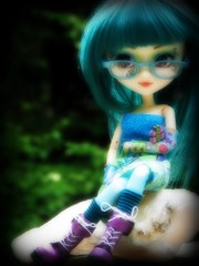 navaeh (~dolldreamer~) Tags: pink blue portrait green tattoo cat photoshop glasses cool eyes doll picnic dolls dress purple body handmade teal tribal planning wig groove pullip custom pullips bodies jun prunella coolcat obitsu navaeh rewig