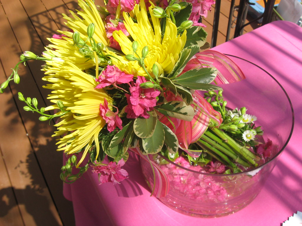 Florals by Rhonda pink and yellow bride's bouquet design