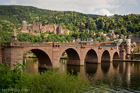 Partially scaffolded Heidelberg Castle overlooking the Neckar river