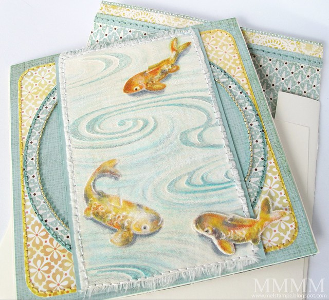 Cuttlebug Koi embossed on fabric card mel stampz
