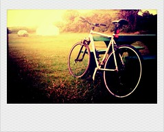 Bike on a campsite. (Ruthie H) Tags: uk nature bike bicycle polaroid cornwall retro instant legend vignette campsite htc