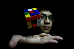 13/365: you're like a rubik's cube (jin.thai) Tags: portrait self magic floating objects cube rubiks levitating levitate telekinesis project365 project3661 jan2009