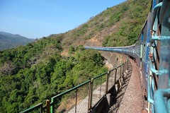 Up the Western Ghats by Rail - Goa, India (meckleychina) Tags: railroad blue india train landscape bend carraige indian goa perspective rail western railfan ghats dudhsagar raliway dudhsagarfalls railview