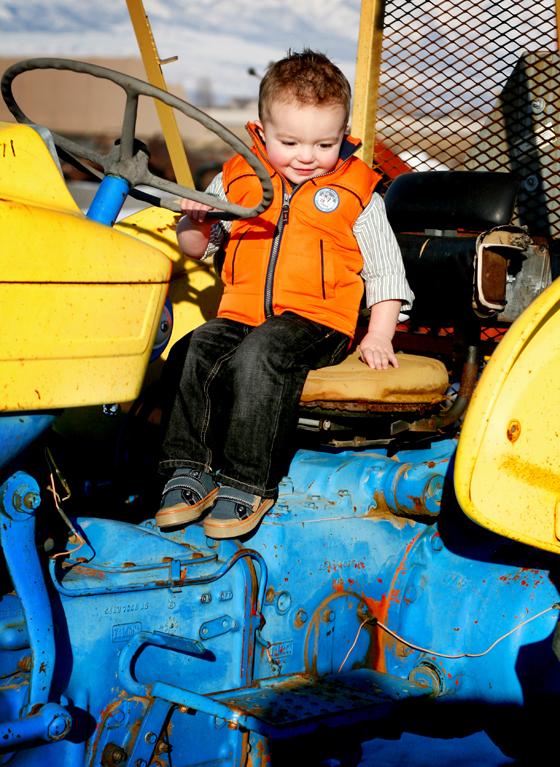 sittin on tractor