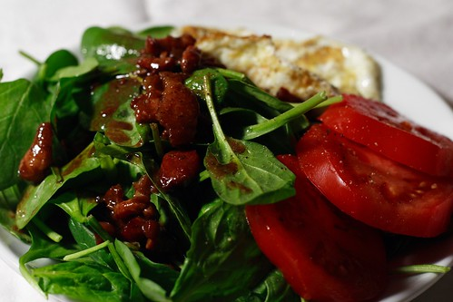 dinner: warm garlic and pancetta dressing over baby spinach