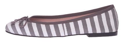 Marilyn grey striped leather matching trim - side