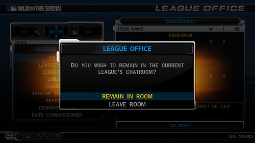 MLB 09 The Show League Lobby