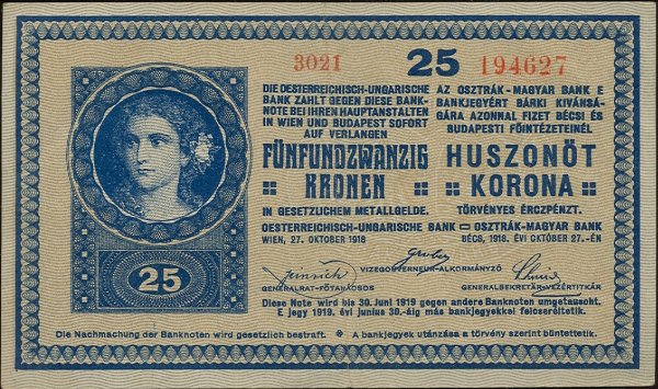 25 koruna Rakúsko-Uhorsko 1918