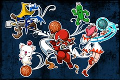 Final Fantasy characters in Mario hoops 3 on 3 (Crash Cortex) Tags: white 3 black square ninja mario final characters enix hoops mage moogle cactuar fantasty