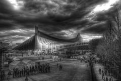 Yoyogi National Stadium (HDR) (Guwashi999) Tags: blackandwhite bw cloud building japan tokyo stadium sigma yoyogi hdr foveon dp1 3xp tonemapped tonemapping sigmadp1