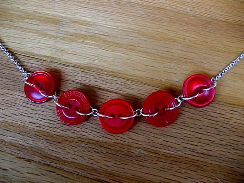 Row of Reds Button Link Necklace