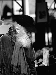 Train of thought (Gerard Schuur) Tags: street people blackandwhite bw beard oldman portret mensen baard oudeman