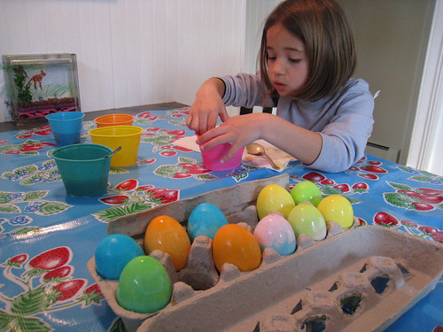 carefully dying eggs