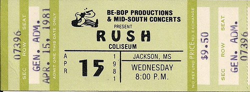 04/15/81 Rush @ Jackson, MS (Ticket)