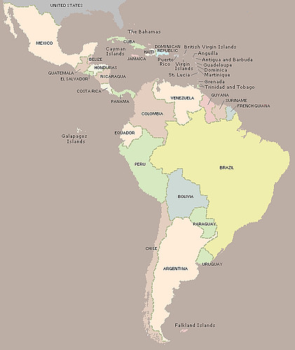 Map Of Latin America. (map of Latin America)