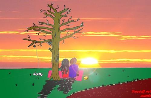 pin house cartoon sunset - photo #29