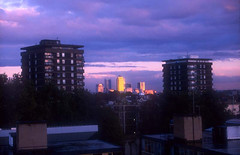 Canary Wharf from a Shoreditch rooftop [eve]