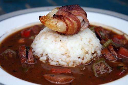 Spicy Gumbo with Andouille and Bacon Wrapped Shrimp 1