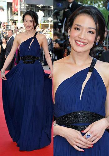 Shu Qi in a cobalt blue Roberto Cavalli gown