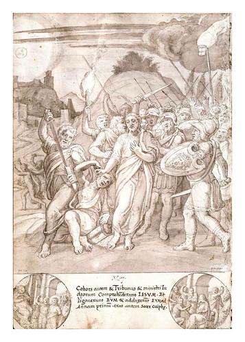 012-Jesus es llevado por los romanos ante Caifas-De Aetatibus Mundi Imagines