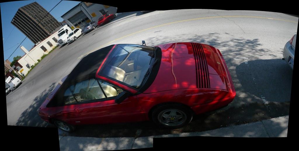 A high-angle Autostitch shot of a Ferrari Mondial t.