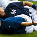 Derek Jeter stretches